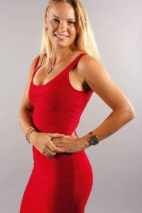 Donna Vekic red dress