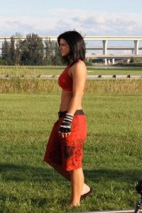 Gina Carano hot red dress